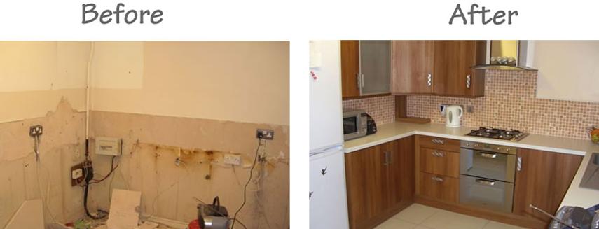 Kitchen Installation before & after work