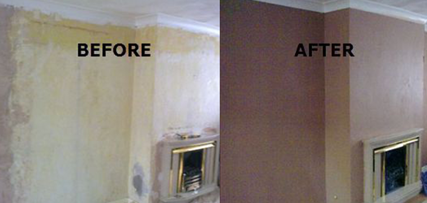plastering service before & after