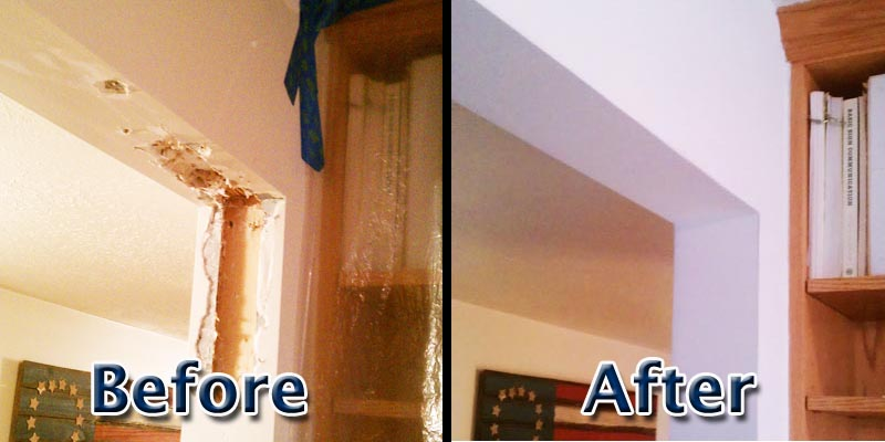 Dry Wall installation before & after